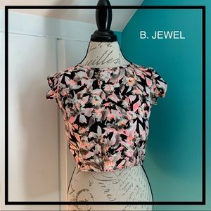 B. JEWEL Neon Print Cap Sleeve Crop Top